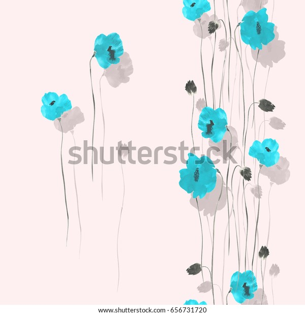 Seamless pattern of blue and gray flowers on a light pink background. Watercolor