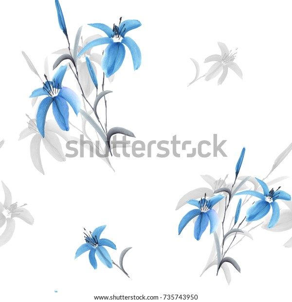 Seamless pattern of blue and gray flowers of lily on a white background. Watercolor