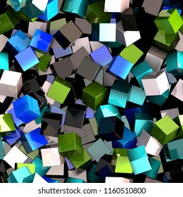 Seamless pattern of blue, green, black and white colored cubes. 3d illustration