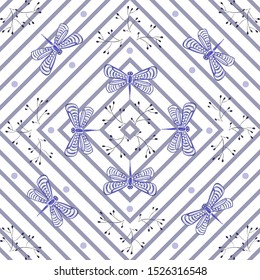 Seamless pattern with blue ink doodles