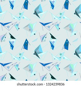 Seamless  pattern, blue lined asymmetric geometric background with lines, dots. Print for decor, wallpaper, packaging, wrapping, fabric. Triangular graphic design. Line drawing