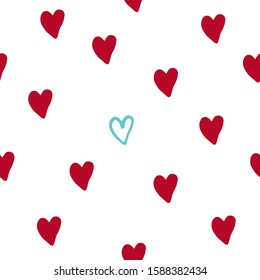 Seamless pattern with blue and red hearts doodle. Valentine's Day, wedding day pattern. Hearts doodle fon.