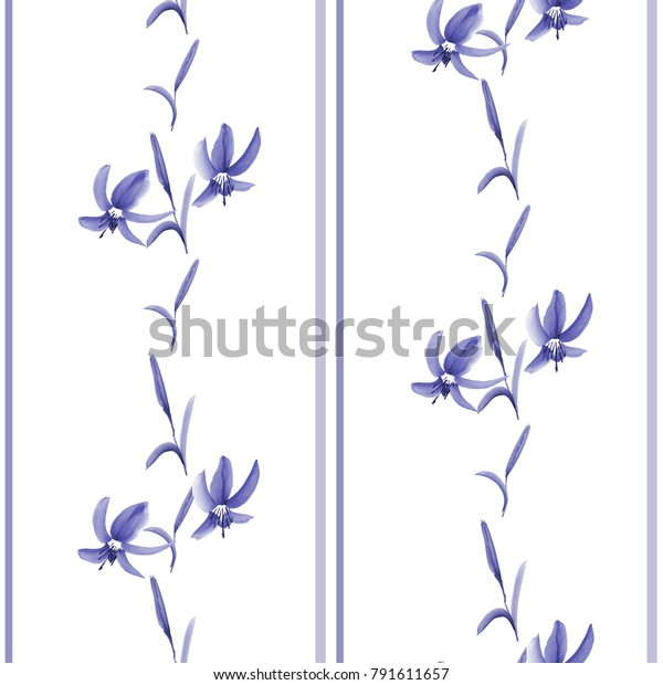 Seamless pattern of blue small flowers and blue vertical stripes on white background. Watercolor