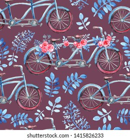 Seamless pattern with blue tandem bicycle. Purple weels. Bouquets of pink rose flowers, blue leaves. Dark background