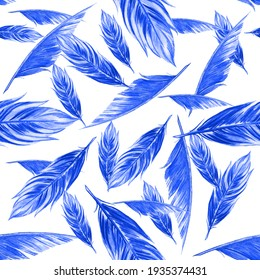Seamless pattern. Blue watercolor bird feathers. Hand drawn Illustrations isolated on white background.