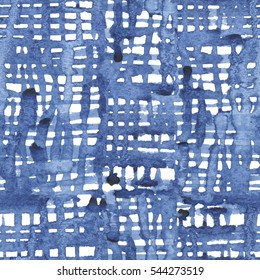 Seamless pattern with blue watercolor lattice for textile, ceramics, fabric, print, cards, wrapping