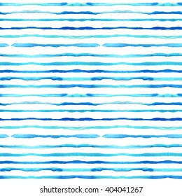 Seamless pattern with blue watercolor lines. Ink illustration. Hand drawn watercolor ornament for wrapping paper. Hand drawn colorful background.
