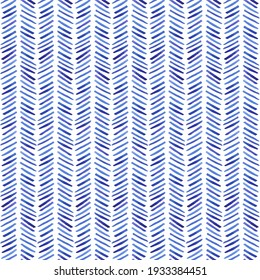 Seamless pattern with blue watercolor zigzags on a white background. For wallpaper, wrapping paper, textiles, postcards, web page backgrounds.