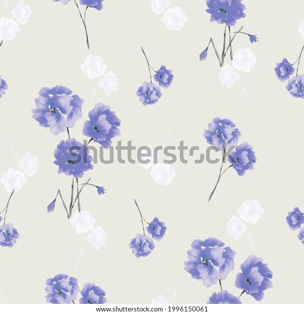 Seamless pattern of blue and white flowers and bouquets on a light beige background. Watercolor