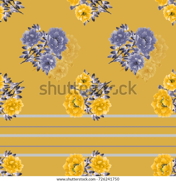 Seamless pattern of blue and yellow  wild flowers on a deep yellow background with  gray and  blue horizontal stripes. Watercolor