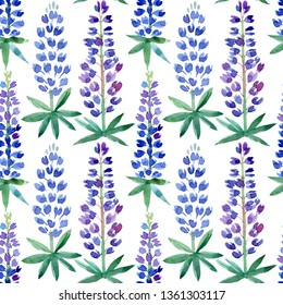 Seamless pattern with bluebonnets. Watercolor hand drawn illustration. Isolated on white background