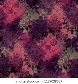 Seamless pattern boho design. Mixed background with floral shapes and watercolor effect. Textile print for bed linen, jacket, package design, fabric and fashion concepts.