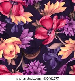 seamless pattern, botanical floral illustration, natural ornament, red, peachy, purple, wild flowers, dark background, textile design