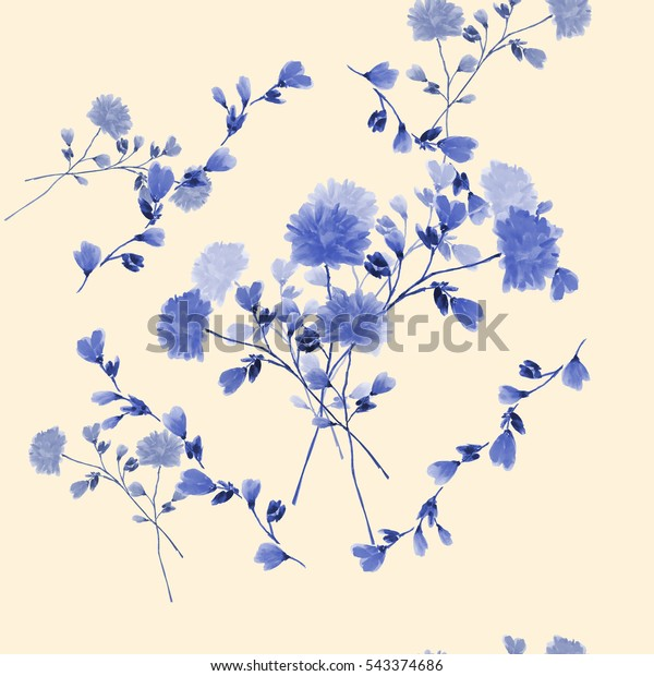 Seamless pattern of bouquet with blue flowers in frame of blue branches on a light beige background. Watercolor
