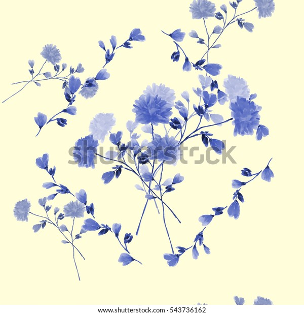 Seamless pattern of bouquet with blue flowers in frame of blue branches on a light yellow background. Watercolor