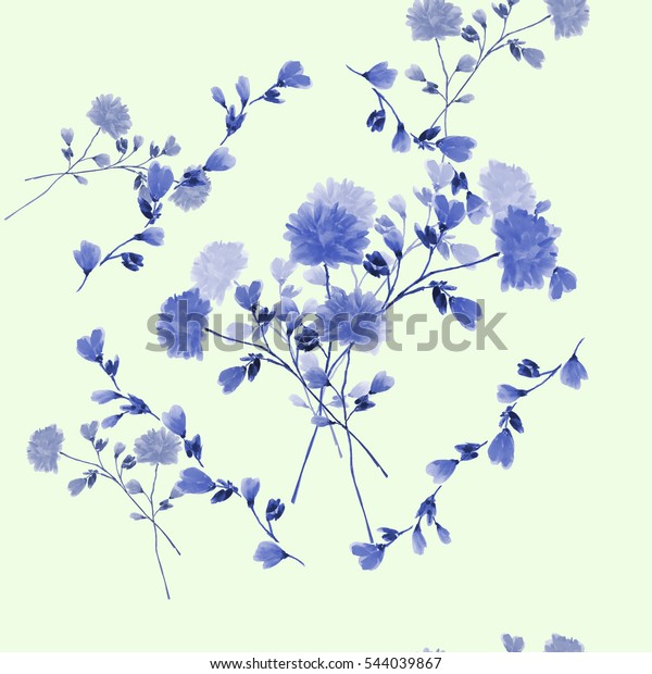 Seamless pattern of bouquet with blue flowers in frame of blue branches on a light green background. Watercolor
