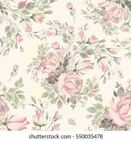 Seamless pattern bouquet bud roses and herbs NO