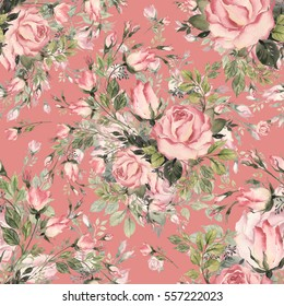 Seamless pattern bouquet bud roses and herbs M