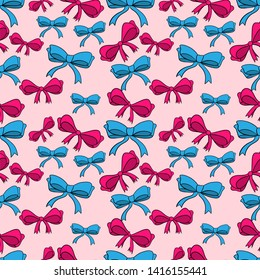 Seamless pattern with bows. Color bright bowknots endless texture. Overwhelming bow decorative elements cartoon illustration.