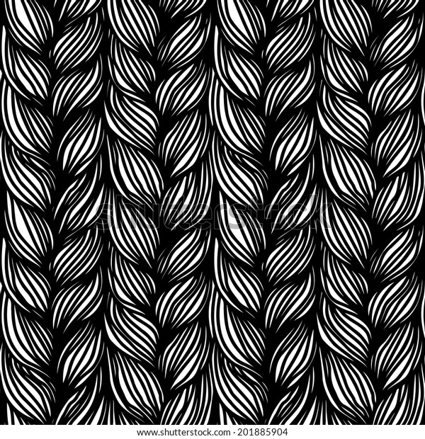 Seamless Pattern Braids Background Form Hairstyle Stock Illustration
