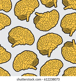 Seamless pattern with brain, hand drawn illustration on beige background