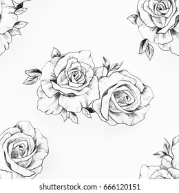 Seamless pattern of a branch of beautiful roses on a white background.