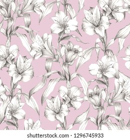 Seamless pattern of branches alstroemeria isolated on pink  background. Hand draw simple pencil. Botanical illustration. Florak design for wallpaper, textile, fabric, wedding invitation, covers.