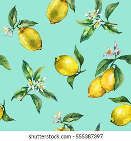 The seamless pattern of the branches of fresh citrus fruit lemons with green leaves and flowers. Hand drawn watercolor painting on turquoise background