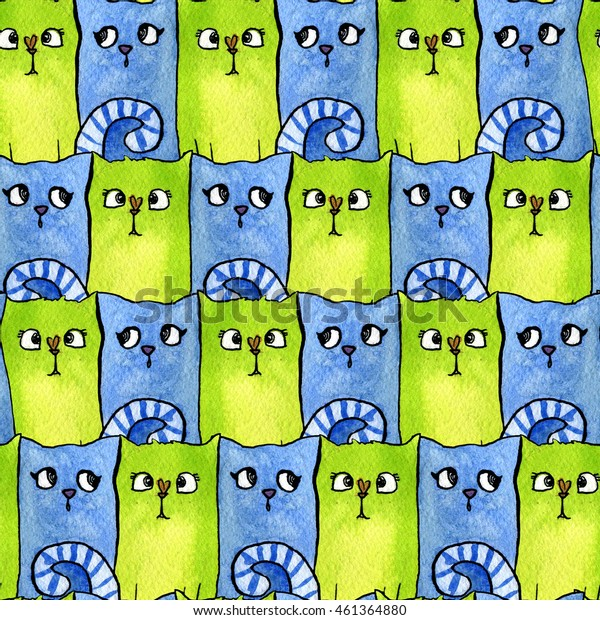 Seamless pattern with bright cats