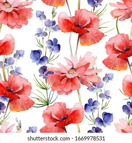 Seamless pattern with bright delphinium flowers and poppies on white background. Watercolor illustration