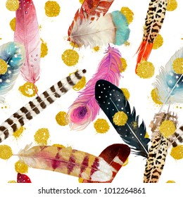 seamless pattern with bright exotic feathers and golden dots