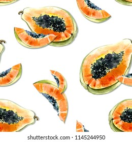 Seamless pattern with bright exotic papaya fruit on white background. Ripe papaya with black seeds cut in half . Watercolor painting. Hand drawn summer illustration. Wallpaper, fabric design.