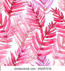 Seamless pattern with bright pink palm leaves painted in watercolor on white isolated background