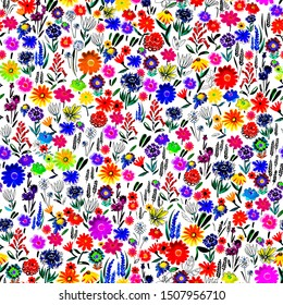 seamless pattern with bright small flowers