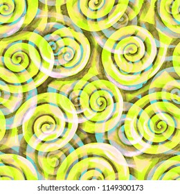 Seamless pattern with bright yellow spiral curls. Hand drawn watercolor painted repeating texture. Trendy neon colored hand drawn background with scrolls