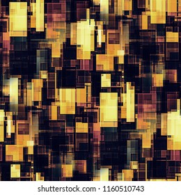 Seamless pattern of brown, yellow and maroon design squares. 3d illustration