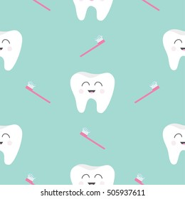 Seamless Pattern Brush Tooth health. Cute funny cartoon smiling character. Oral dental hygiene. Children teeth care. Baby texture. Flat design. Blue background.