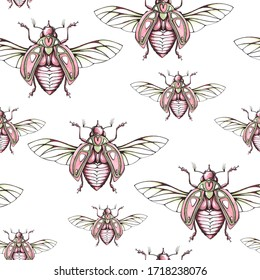 Seamless pattern with bugs. Graphic design for textile, fabric, packaging, wallpaper. Marker and liner art