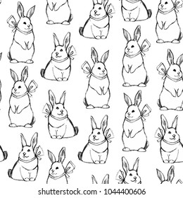 Seamless pattern with bunnies for Easter