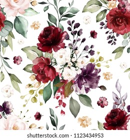 Seamless pattern with burgundy flowers and leaves. Hand drawn background.  floral pattern for wallpaper or fabric. Flower rose. Botanic Tile.