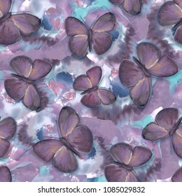 Seamless pattern with butterflies and flowers. Watercolor.