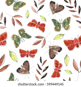 Seamless pattern with butterflies and leaves. Green and red colors, graphic watercolor style.