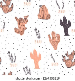 Seamless pattern with cactus, branches, floral & abstract elements isolated on white background. Hand drawn sketch style. Good for packaging, tag, card, wedding & nursery decor etc.