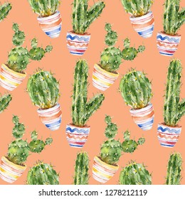 Seamless pattern with cactus, peyote. Watercolor illustration.