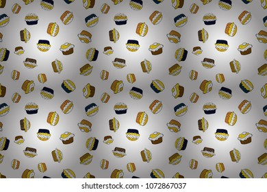 Seamless pattern cake. Raster illustration. Bright birthday pattern on white, yellow and black. For food poster design.