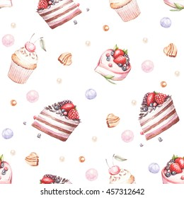 Seamless pattern with cakes. Watercolor illustration.