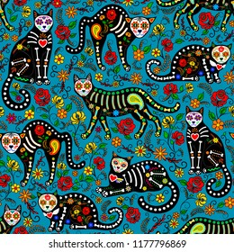 Seamless pattern with calavera sugar skull black cats in mexican style for holiday the Day of the Dead, Dia de Muertos