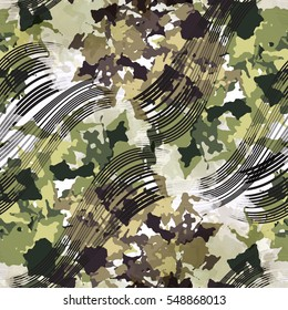 Seamless pattern camo design. Camouflage background ink waves and watercolor effect. Textile print for bed linen, jacket, package design, fabric and fashion concepts