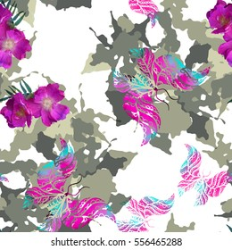 Seamless pattern camouflage design. Camo background with butterflies, flowers and watercolor effect. Textile print for bed linen, jacket, package design, fabric and fashion concepts.