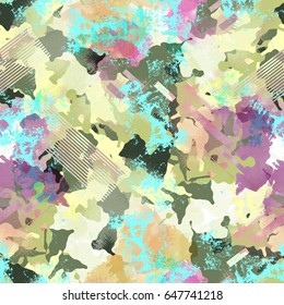 Seamless pattern camouflage design. Camo background with lines and watercolor effect. Textile print for bed linen, jacket, package design, fabric and fashion concepts.